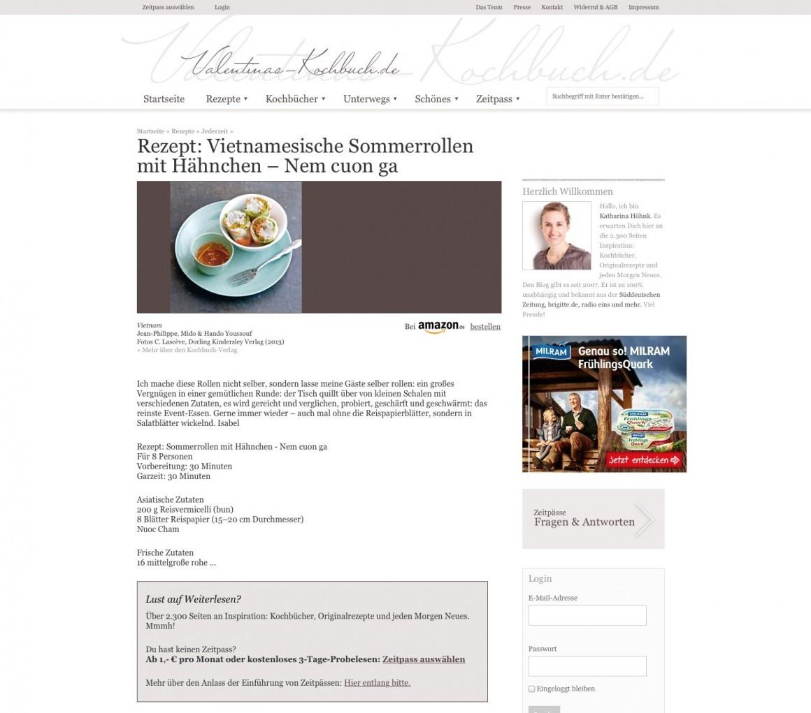 Food Blog Mit Bezahlschranke Valentinas Kochbuchde Hat Jetzt Eine