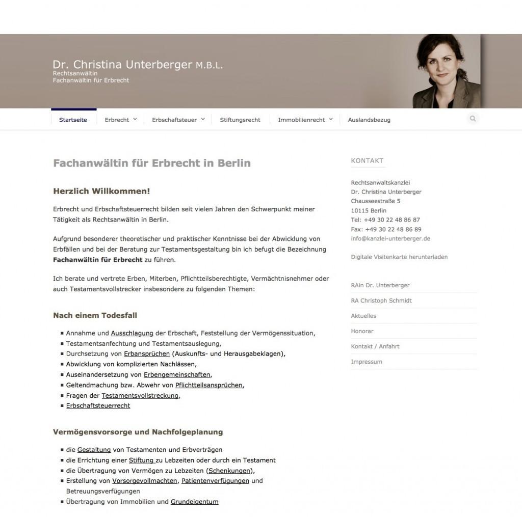 Rechtsanwaltskanzlei Dr. Christina Unterberger, Berlin: Die Startseite
