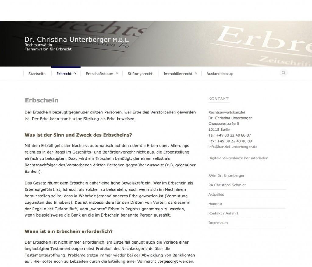 Rechtsanwaltskanzlei Dr. Christina Unterberger, Berlin: Unterseite Erbrecht