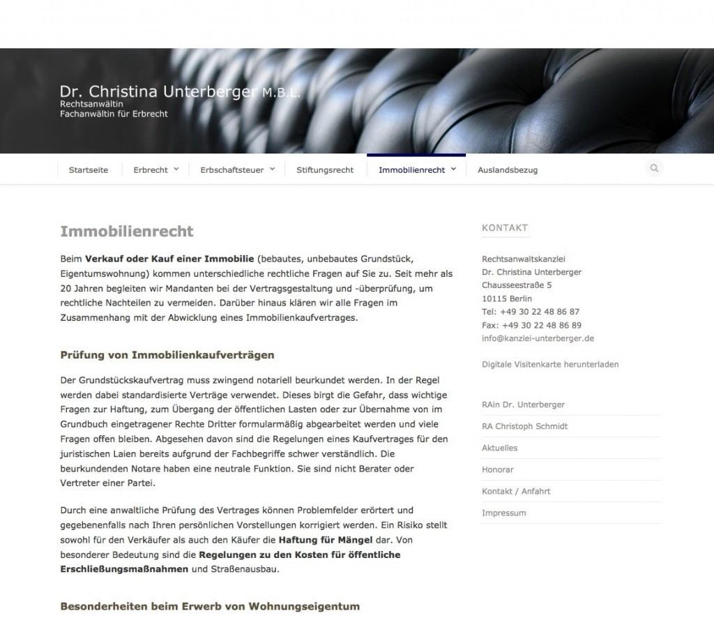 Rechtsanwaltskanzlei Dr. Christina Unterberger, Berlin: Unterseite Immobilienrecht