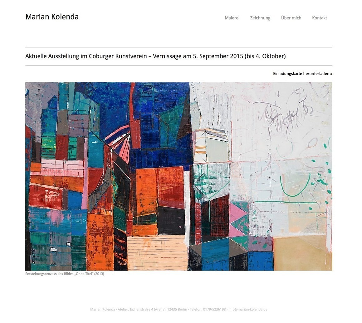 Künstler Maler Berlin marian kolenda malerei zeichnung neue website für berliner künstler