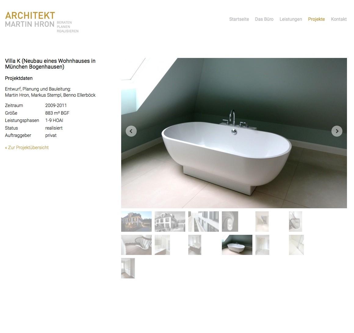Projektdaten und Projektfotos auf einer Detailseite
