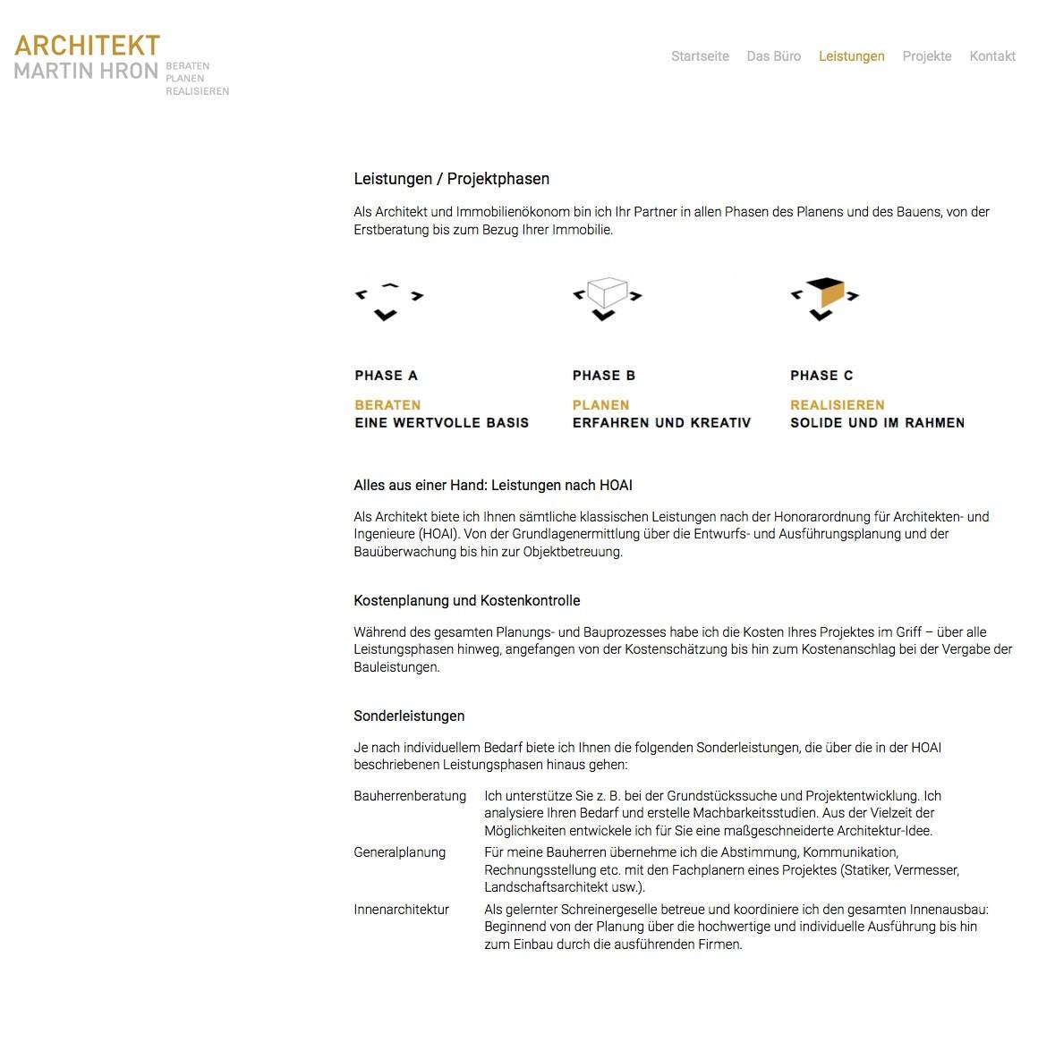 """Auf der Seite """"Leistungen"""" erläutert der Architekt seine Arbeitsweise."""