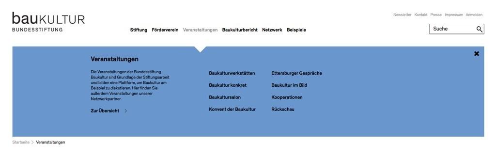 """Das """"Mega Menu"""" auf der neuen Website der Bundesstiftung Baukultur"""