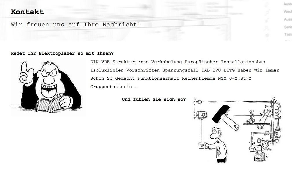 Elektroplaner mit Humor: Ausschnitt der Kontaktseite auf ib-friedrich.de