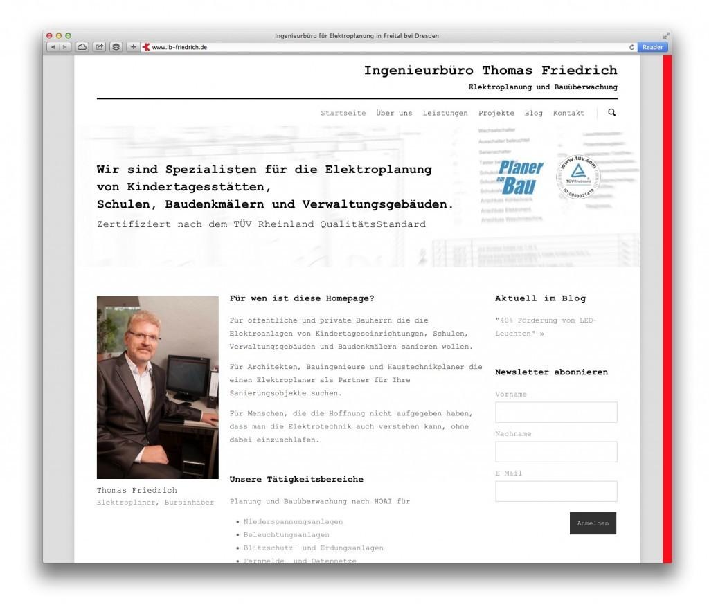 Die Startseite auf ib-friedrich.de