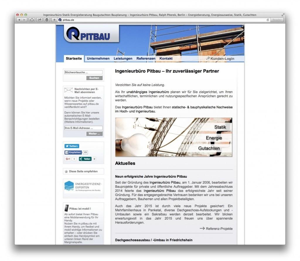 Die Startseite auf pitbau.de