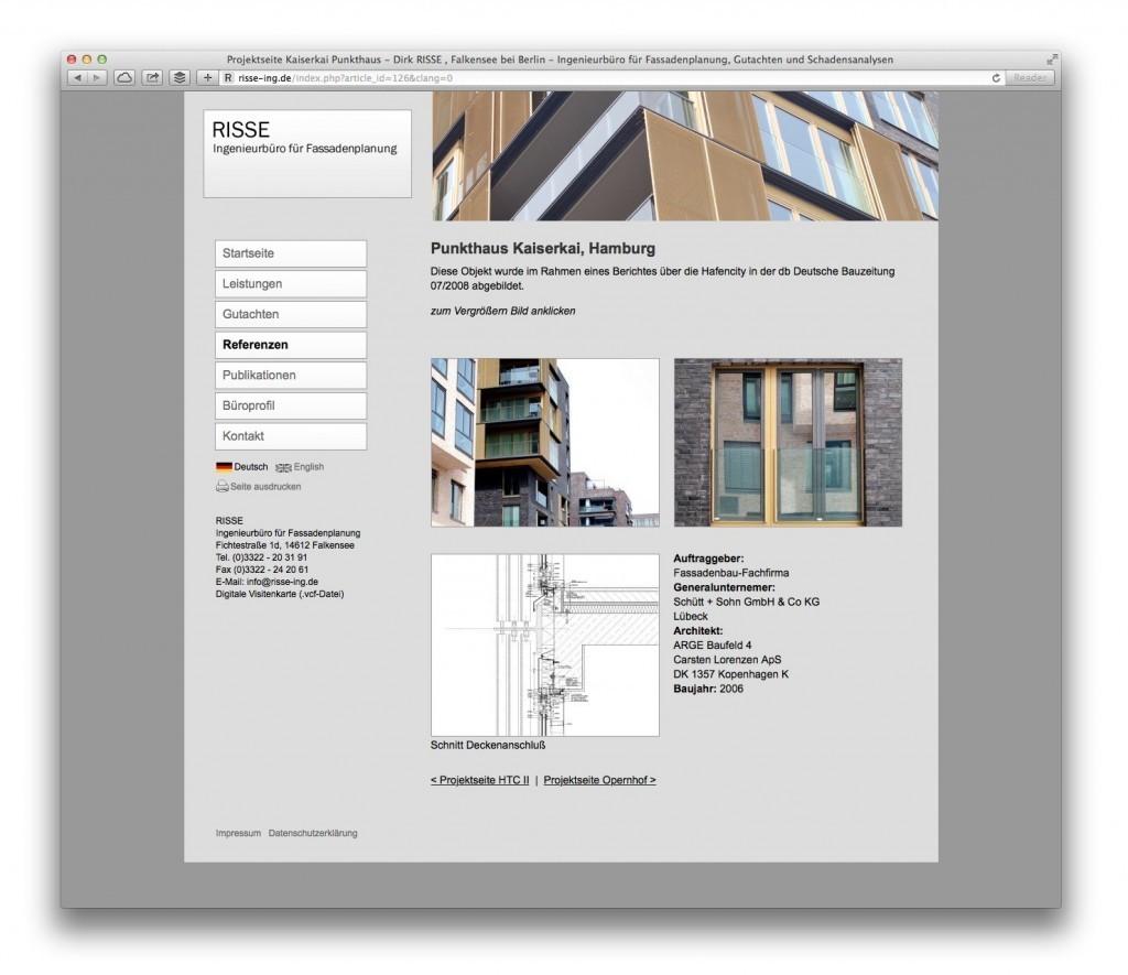 Eine Projektseite mit Planungsdetails