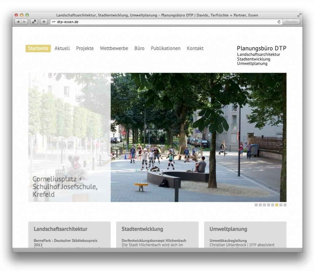 dtp-essen.de – Startseite mit durchlaufenden Projektbeispielen