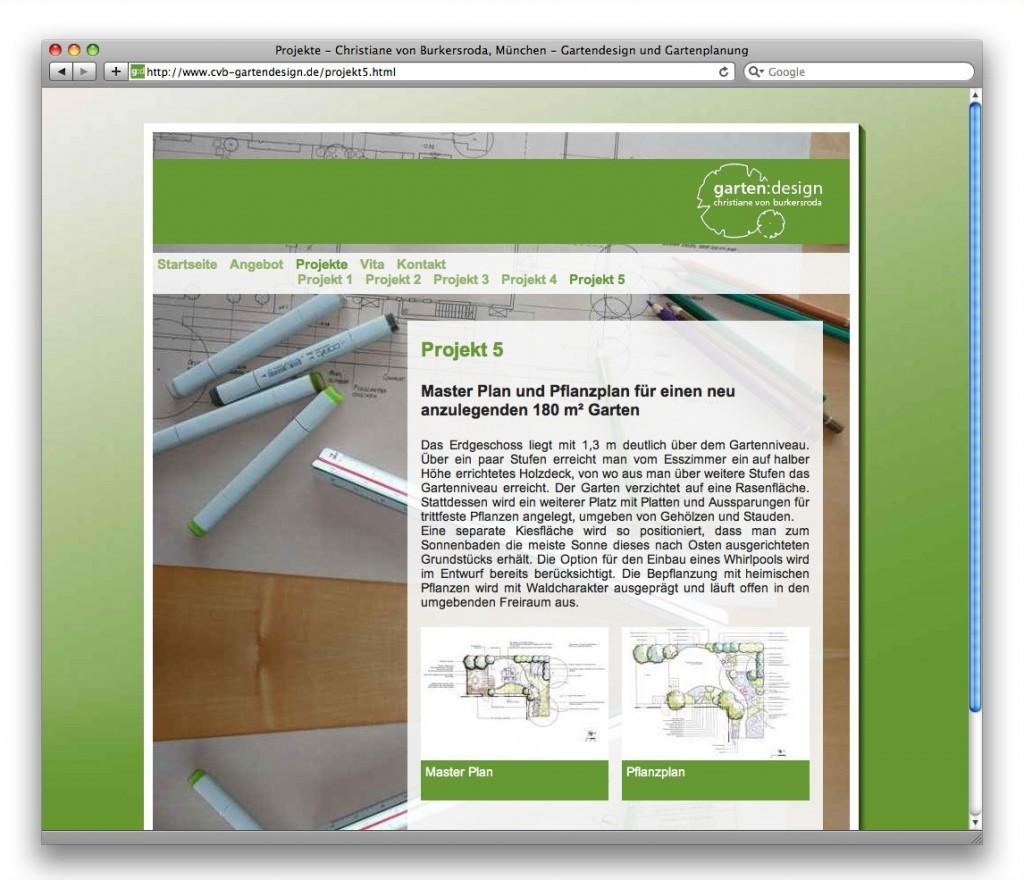 Eine Projektseite auf cvb-gartendesign.de (2008)