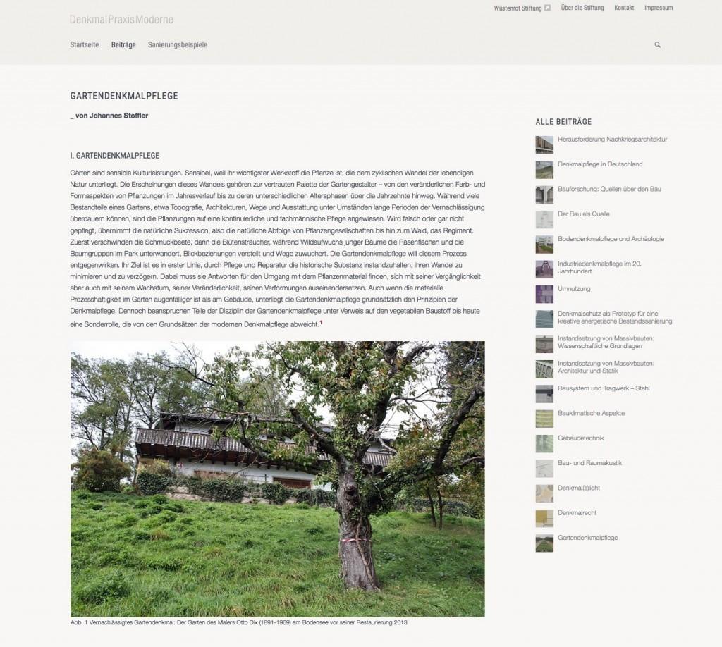 """Fachbeitrag zum Thema """"Gartendenkmalpflege"""""""