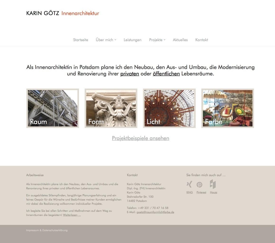 neue website f r die innenarchitektin karin g tz potsdam. Black Bedroom Furniture Sets. Home Design Ideas