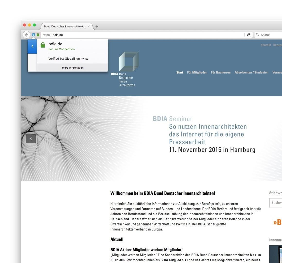 Bund Deutscher Innenarchitekten die website des bdia läuft ab sofort mit ssl verschlüsselung