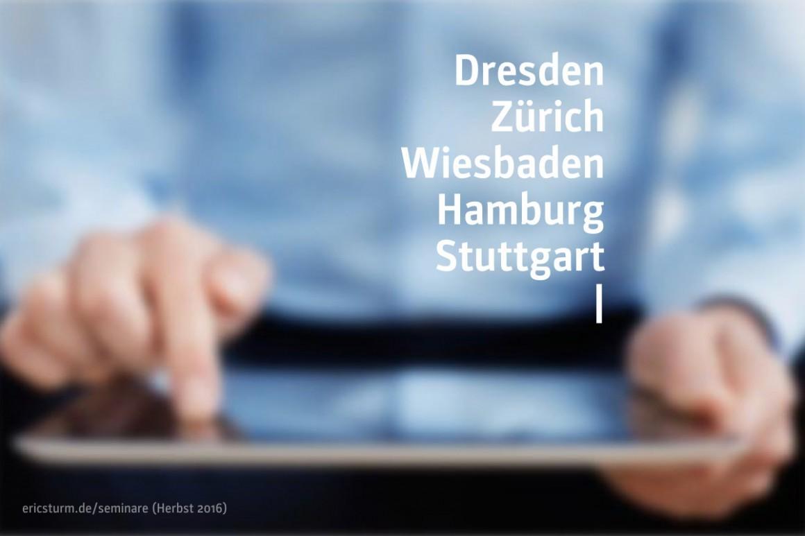Coming up: Die Seminar-Orte von Eric Sturm im Herbst 2016 (Foto: iStock)