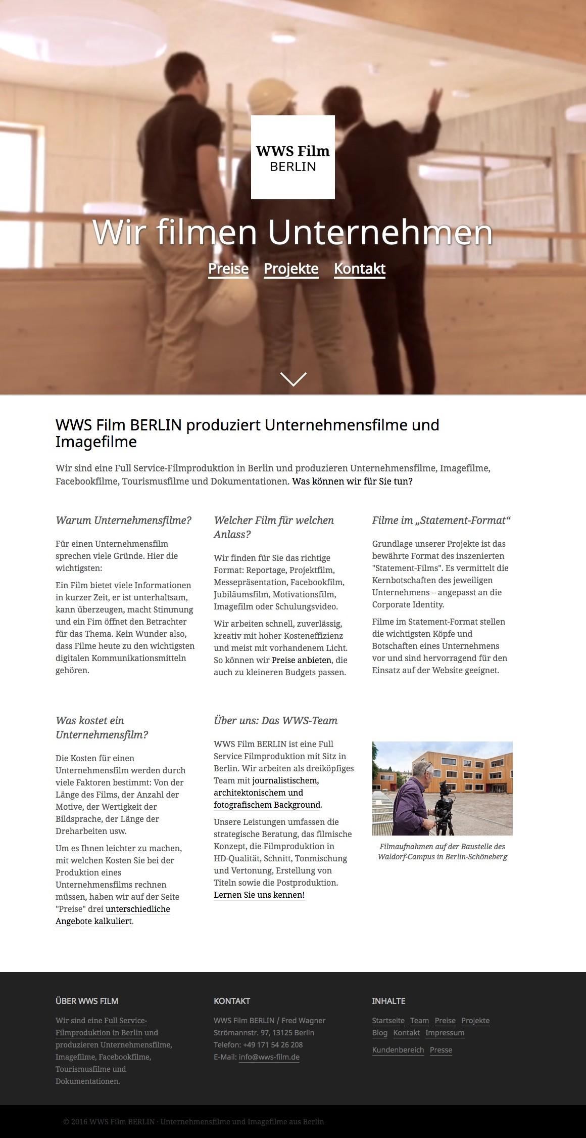 Die Startseite von WWS Film BERLIN (Screenshot August 2016)