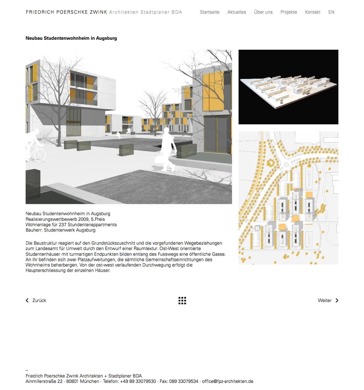 Screenshot: Eine Projektseite auf fpzarchitekten.de