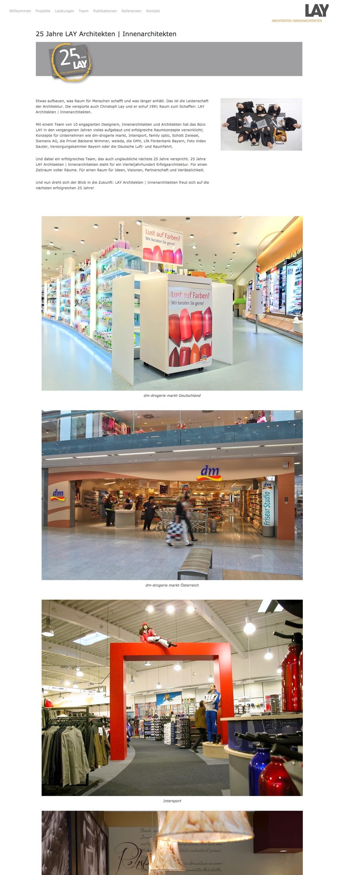 Landing Page auf der Büro-Website von LAY Architekten Innenarchitekten
