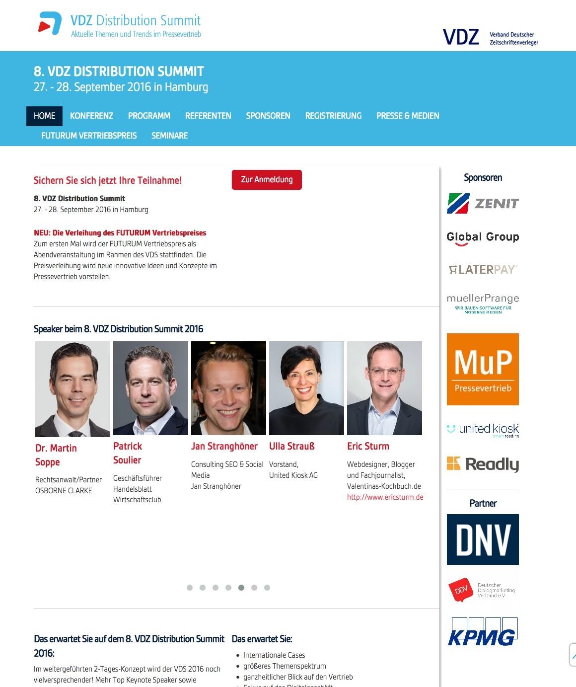 VDZ Distribution Summit (Screenshot der Startseite, September 2016)