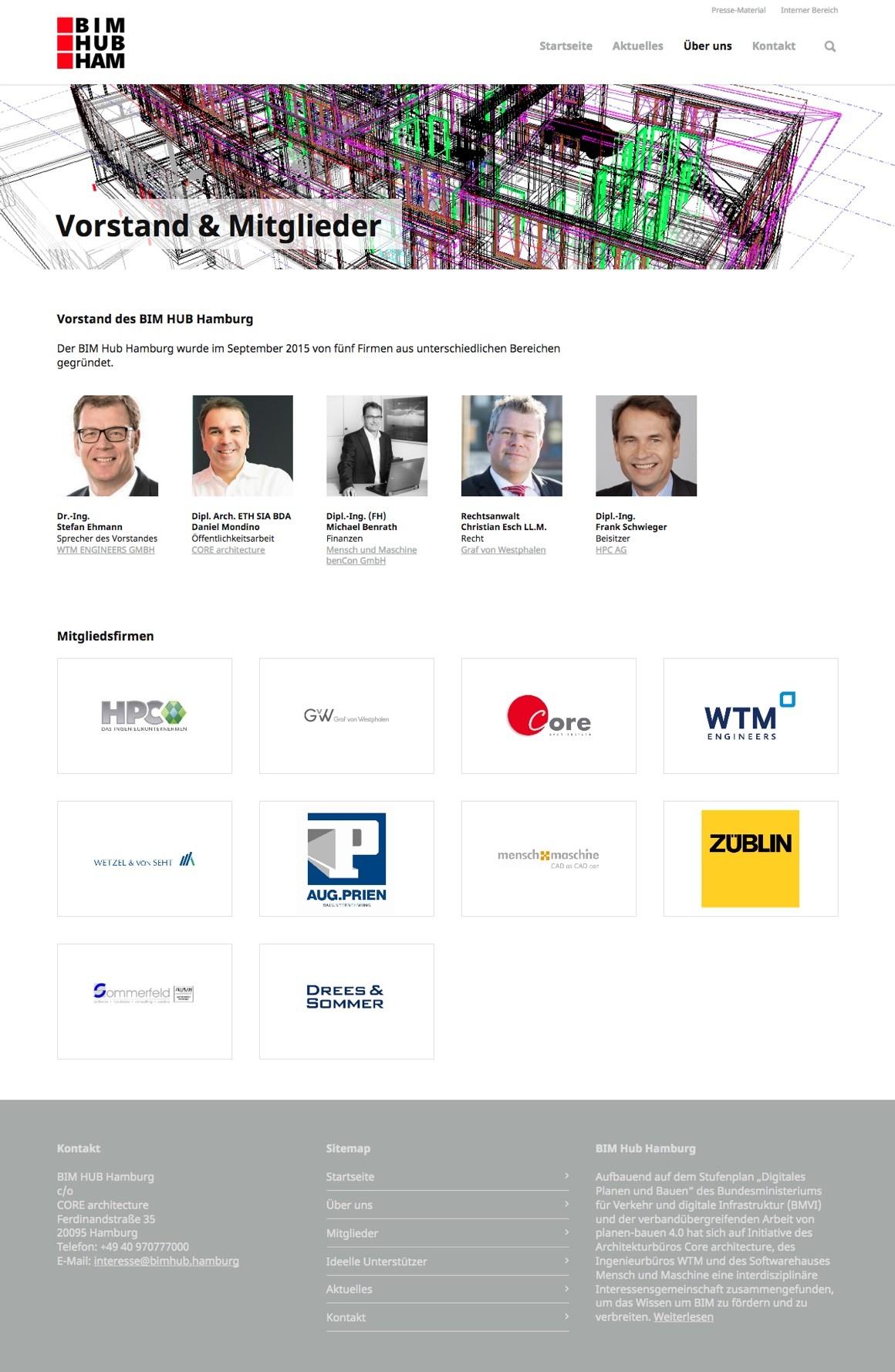 """Die Seite """"Vorstand & Mitglieder"""" des BIM Hub Hamburg"""