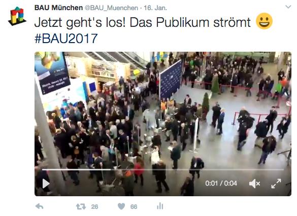 """Mein erfolgreichster Tweet für die BAU 2017 mit über 60 """"Gefällt mir""""-Angaben"""
