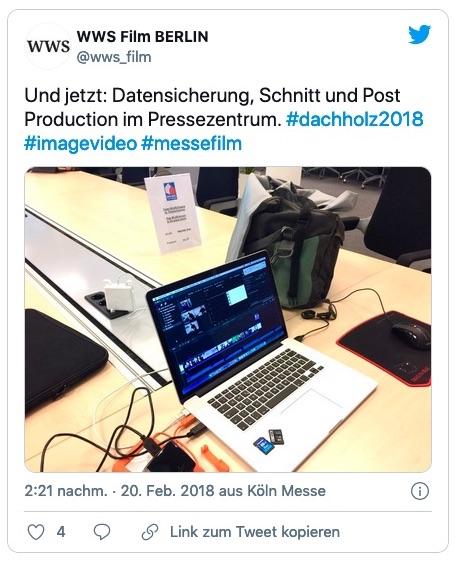 Mobile Filmproduktion und Filmschnitt im Pressezentrum der Koelnmesse während der DACH+HOLZ (Foto: Eric Sturm)
