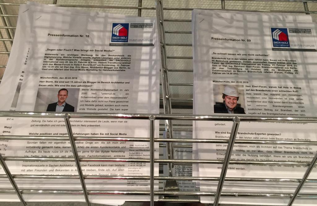 Pressemeldung der DACH HOLZ International 2018 zu meinem Social Media-Vortag im Forum der Messe – sie lag u. a. im Pressezentrum zum Mitnehmen aus.