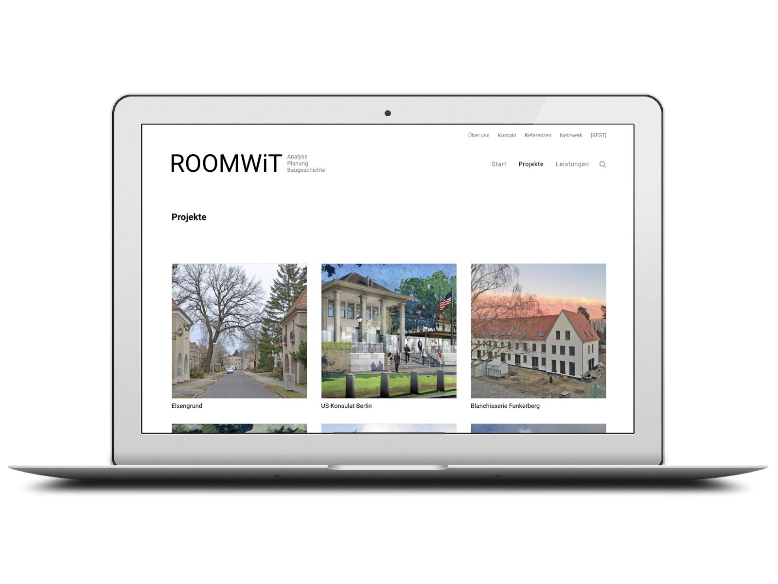 """Die Rubrik """"Projekte"""" auf roomwit.com, der neuen Website von Architekturhistorikerin Petra Kind aus Berlin"""