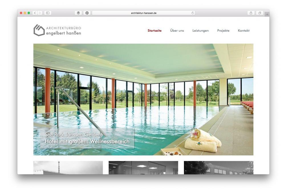 Website Architekturbüro Hanssen, Geldern
