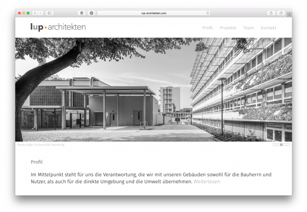 Büro-Website lup-architekten (Hamburg-Ottensen)