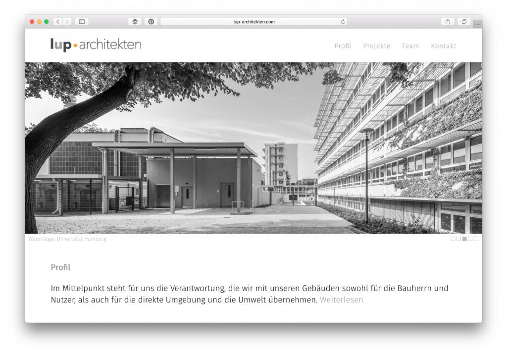 Büro-Website lup-architekten (Hamburg-Ottensen)