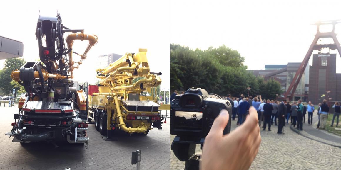 """Filmaufnahmen vor dem Atlantic Congress Hotel und vor der Zeche Zollverein in Essen während der Tagung """"Praxis Transportbeton 2018"""" (Fotos: Eric Sturm)"""