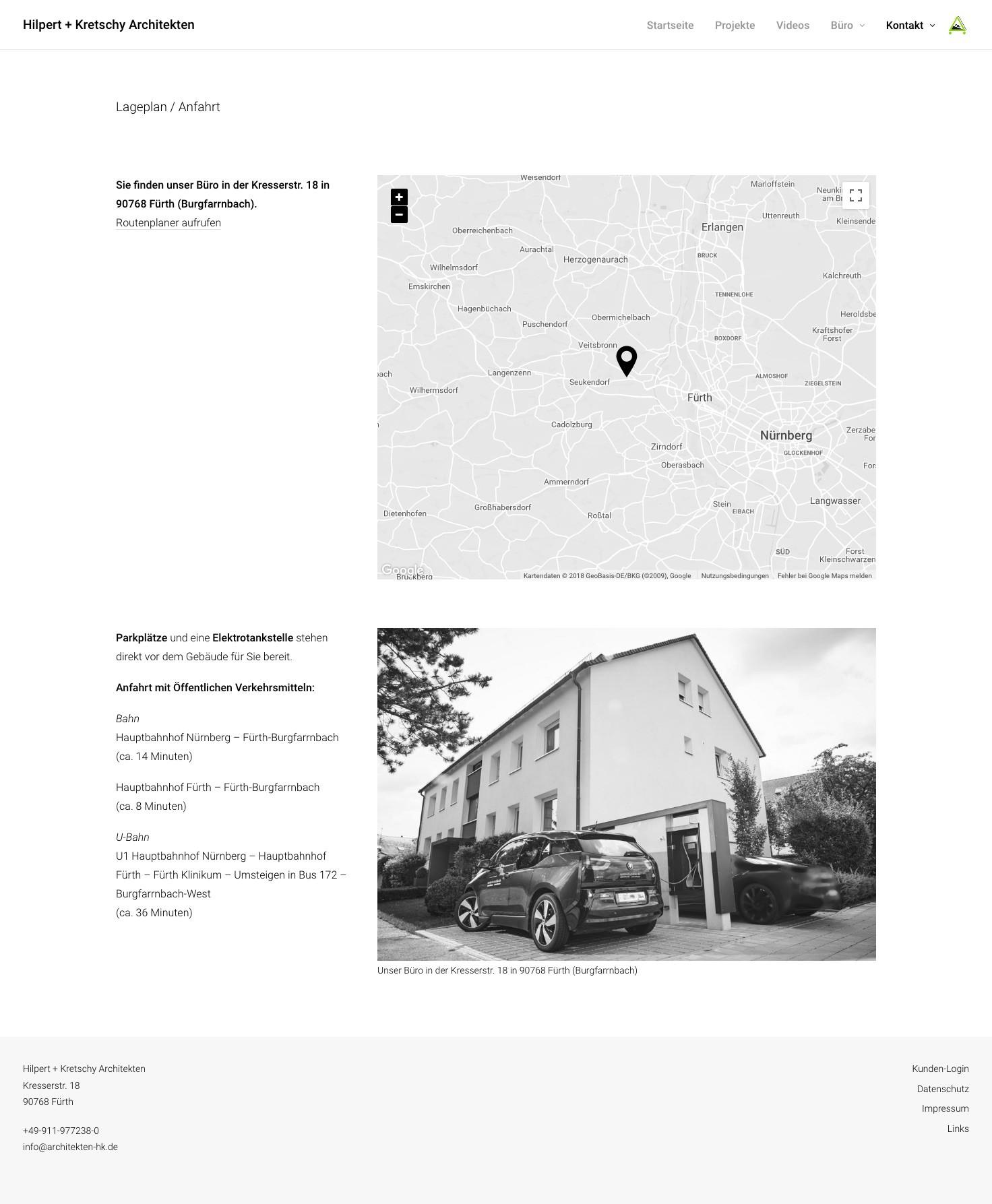 """Die Seite """"Lageplan/Anfahrt"""" von Hilpert + Kretschy Architekten"""