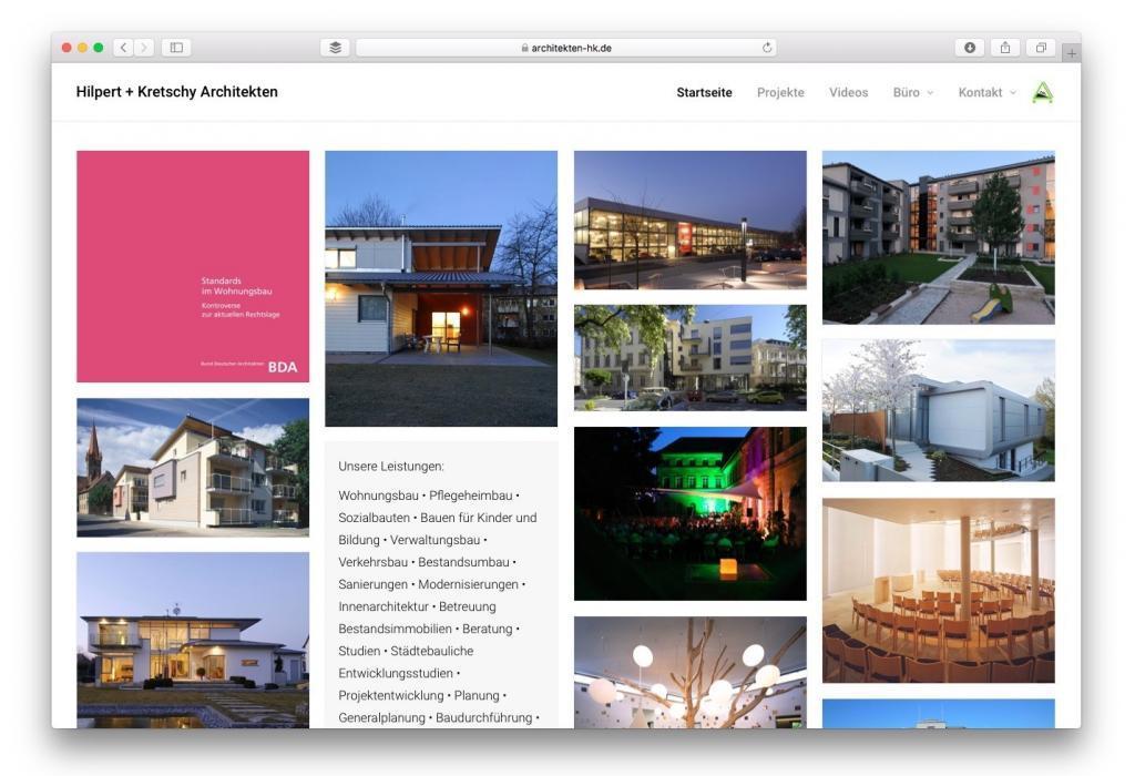 Screenshot der neuen Website von Hilpert + Kretschy Architekten, Fürth (Bayern)