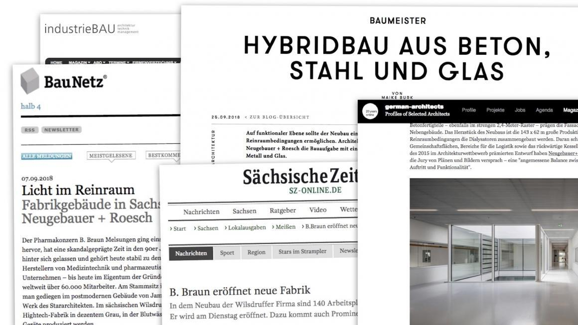 Screenshots: Presse-Veröffentlichungen über den Neubau einer Filterfabrik von Neugebauer + Roesch Architekten (Stuttgart)