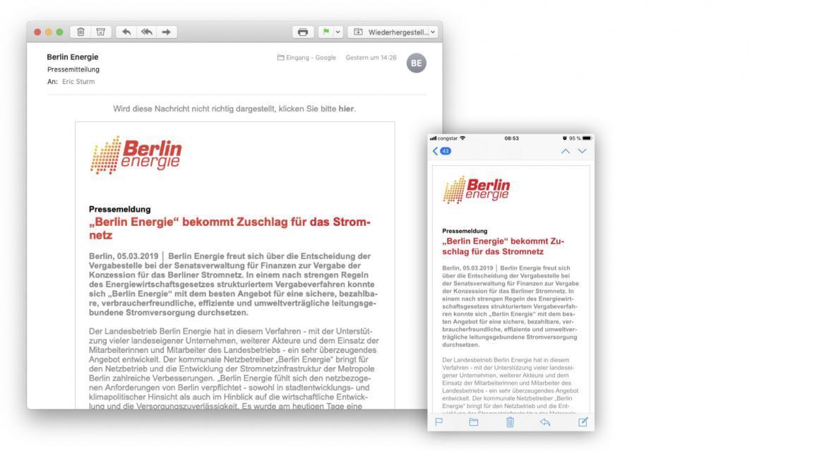 Kunden-Referenz Berlin Energie: E-Mail-Template-Design und Versandsystem für Pressemitteilungen (2016)