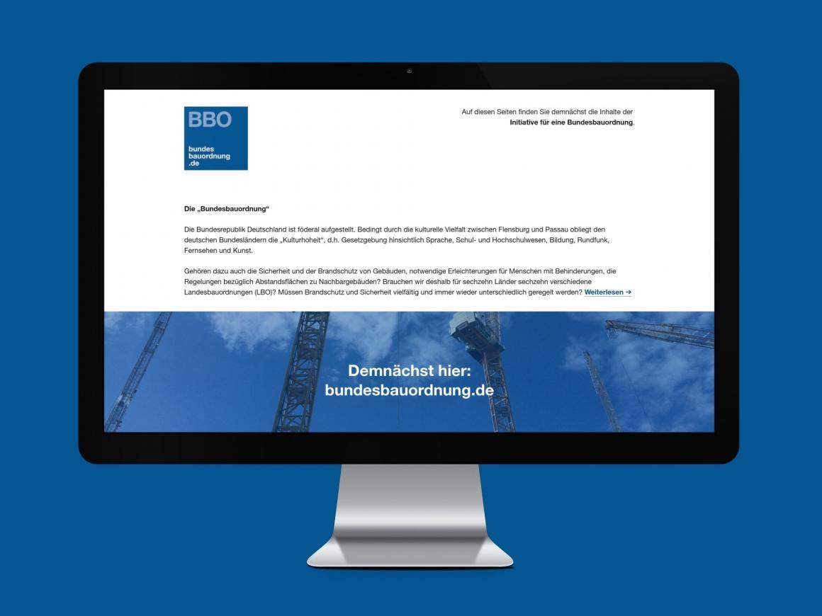 Screenshot bundesbauordnung.de (Corporate Design + Webdesign: Eric Sturm, Berlin)