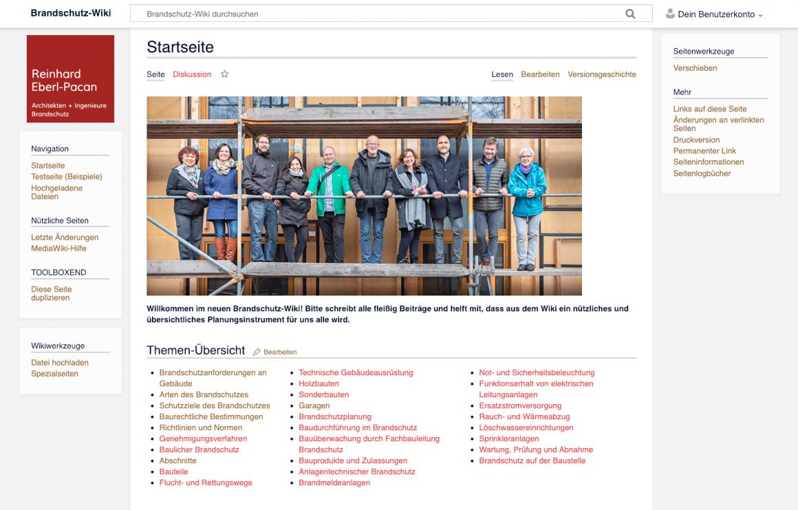 Screenshot der Startseite des Büro-Wikis von Eberl-Pacan Architekten Ingenieure Brandschutz, Berlin (Software: MediaWiki, Teamfoto: Fred Wagner)