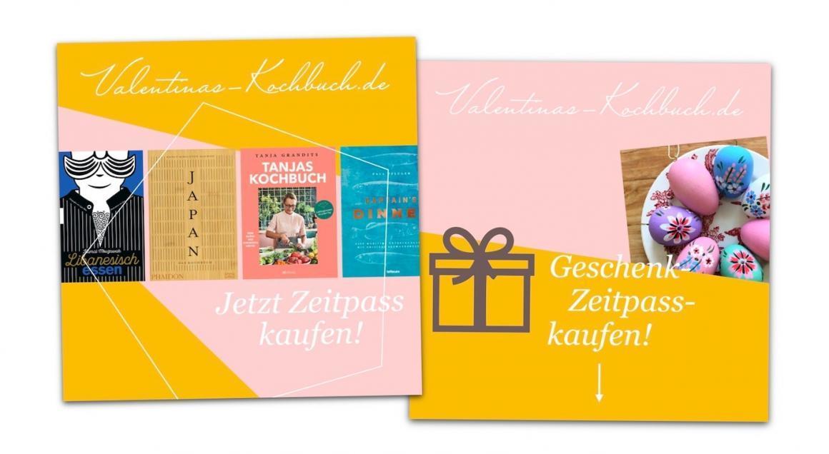 Banner-Design / Instagram-Anzeige: Geschenkzeitpass Valentinas-Kochbuch.de