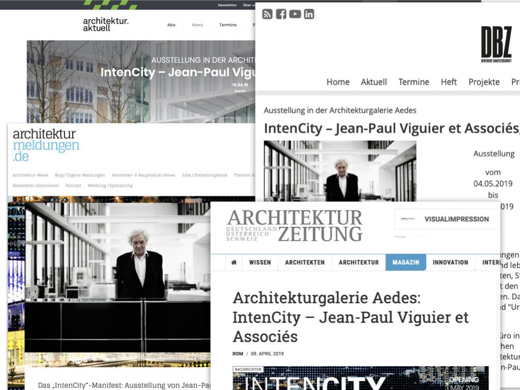 """Resultate der Pressearbeit für die Ausstellung """"IntenCity"""" von Jean-Paul Viguier et Asscociés in Berlin (Screenshots April 2019)"""
