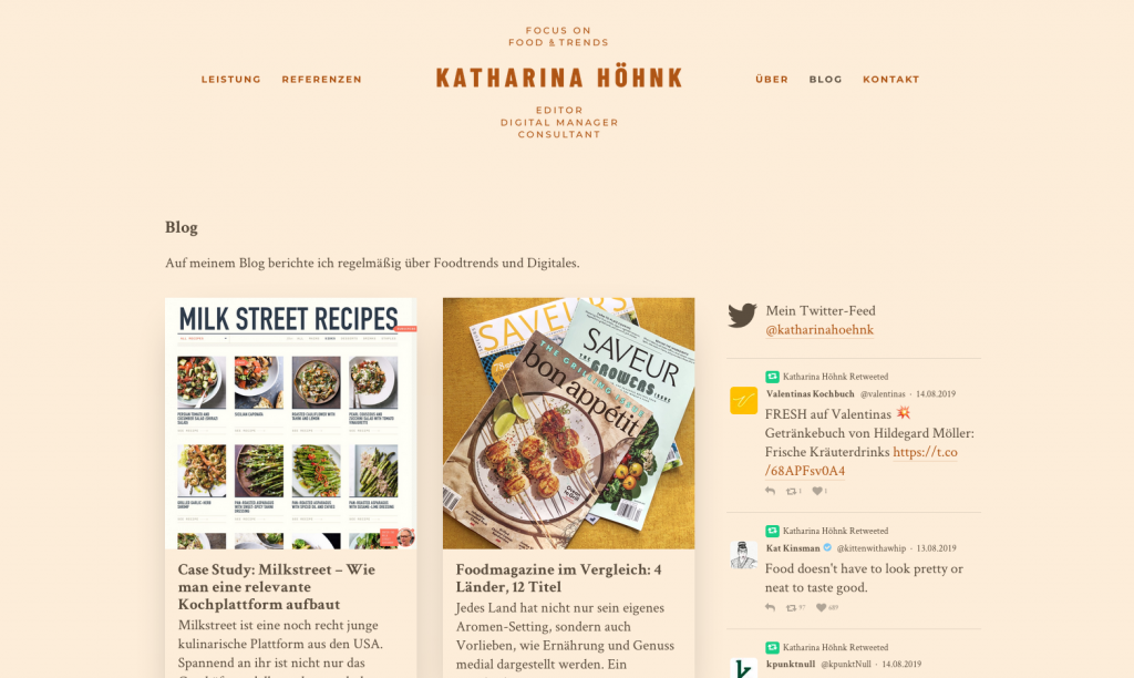 Blog über Food-Trends, Publishing-Konzepte und Digitales von Katharina Höhnk aus Berlin (Screenshot August 2019)