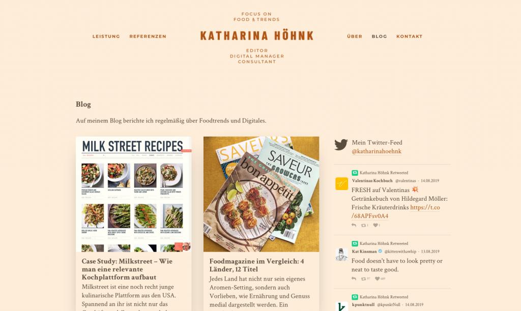 Blog über Food-Trends, Publishing-Konzepte und Digitales von Katharina Höhnk aus Berlin (Screenshot August 2019)