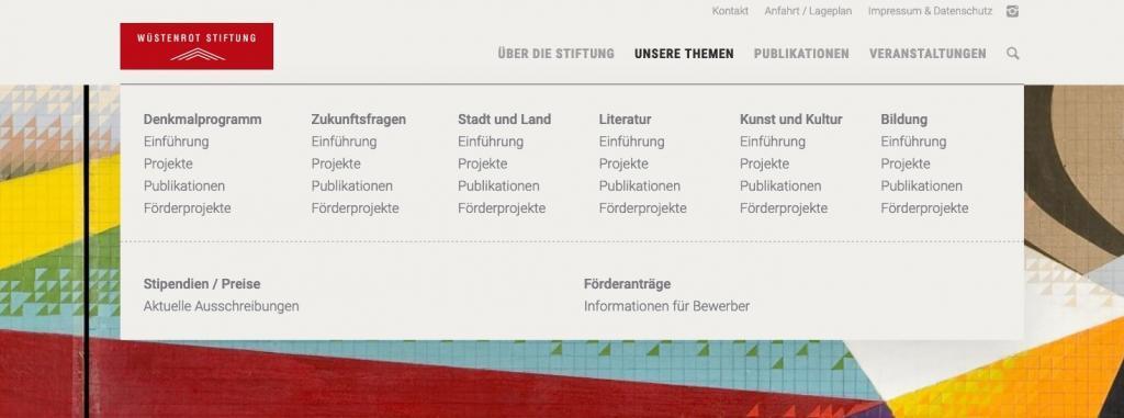 """Das neue """"Mega Menu"""" auf der Website der Wüstenrot Stiftung (Screenshot Juli 2019)"""