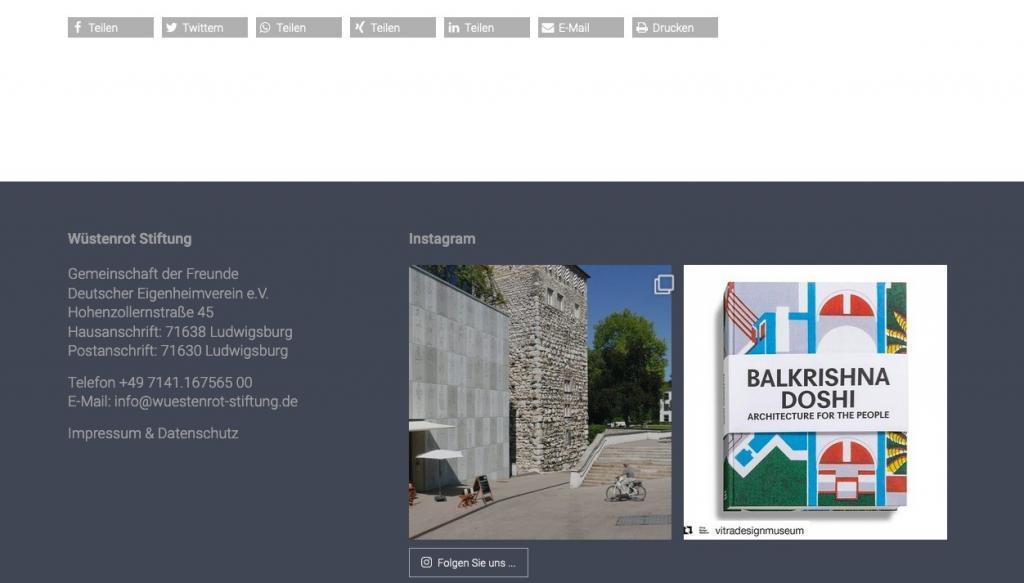 Instagram-Integration im Footer jeder Seite der Wüstenrot Stiftung (Screenshot August 2019)