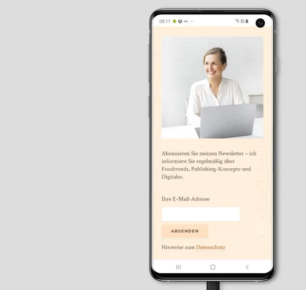 Newsletter-Anmeldung auf der WordPress-Website der Food-Expertin Katharina Höhnk (Screenshot August 2019)