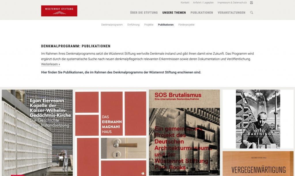 """Publikationen der Wüstenrot Stiftung im Bereich """"Denkmalprogramm"""" (Screenshot August 2019)"""