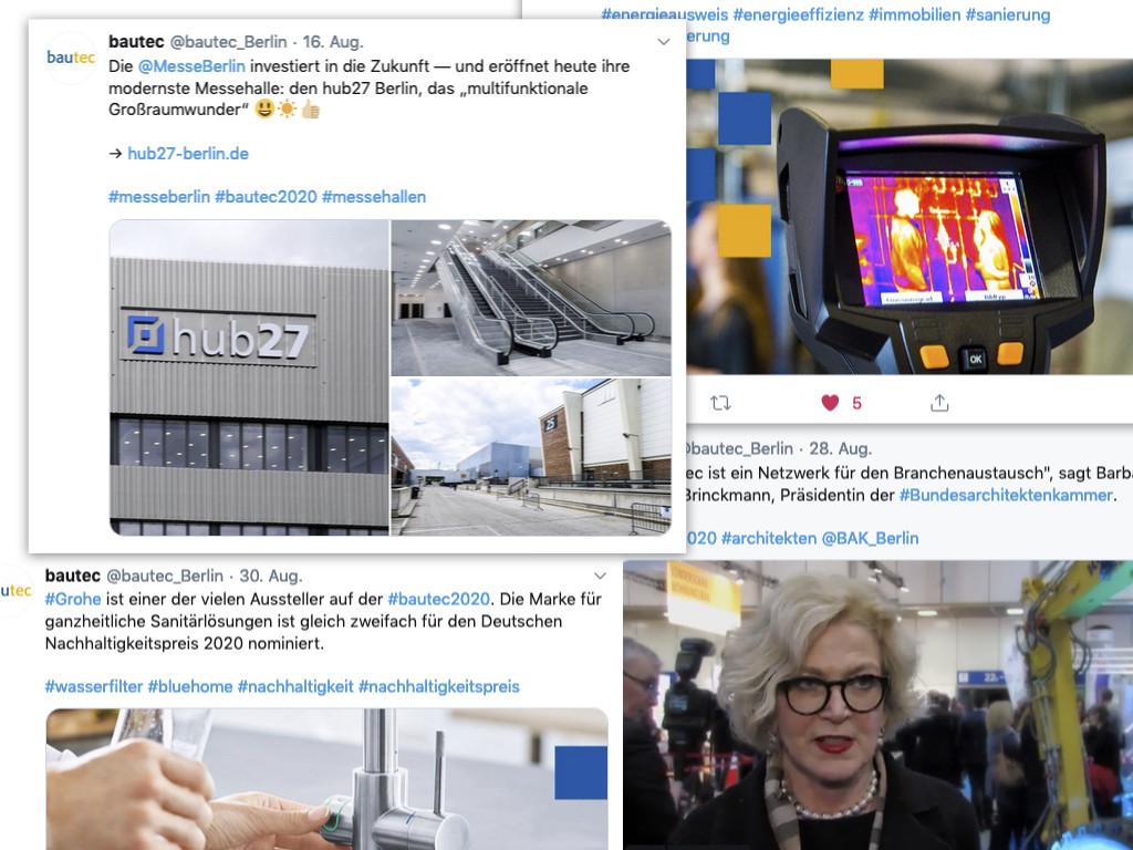 Social Media-Redaktion: Twittern für die bautec 2020 (Collage einiger Tweets von @bautec_Berlin)