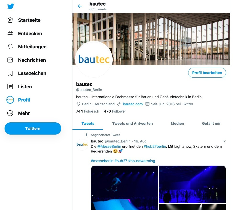 Social Media-Redaktion: Twittern für die bautec (Screenshot des Twitter-Profils @bautec_Berlin, September 2019)