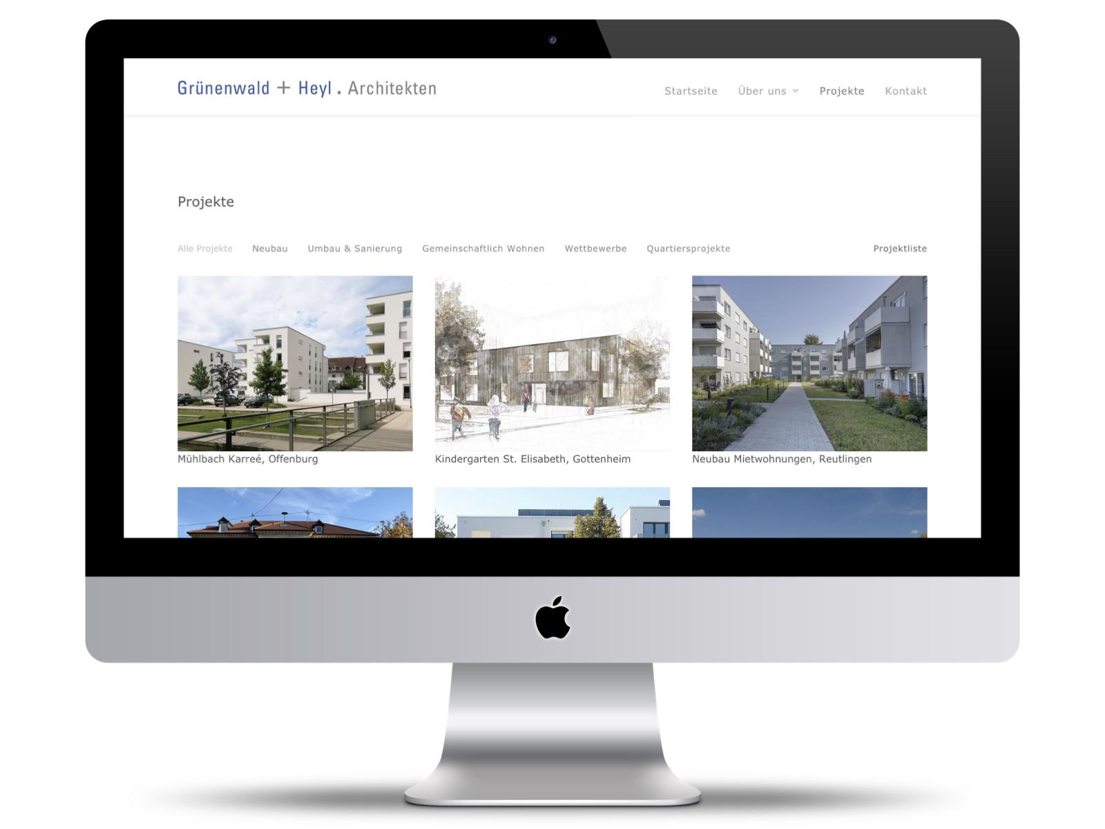 Wordpress-Website Grünenwald + Heyl . Architekten, Karlsruhe (Seite Projekte im Februar 2020)