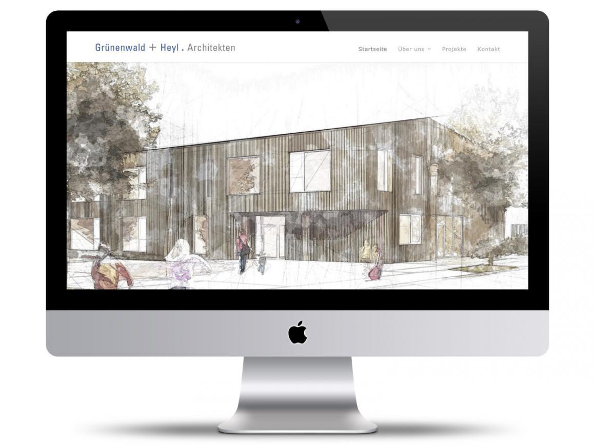 Wordpress-Website Grünenwald + Heyl . Architekten, Karlsruhe (Startseite im Februar 2020)