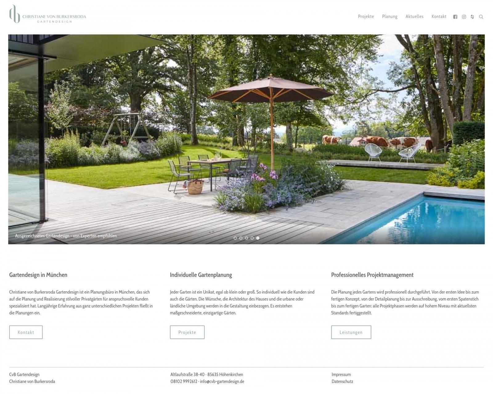 Die Startseite der neuen Website von Christane von Burkersroda, Gartendesignerin in Höhenkirchen bei München
